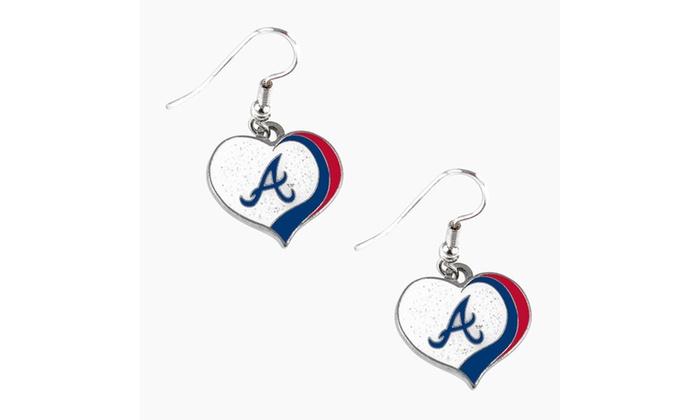 MLB Glitter Heart Earring Swirl Charm Set