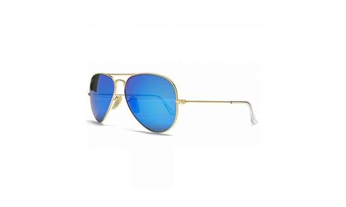 Ray Ban Aviator Sunglasses Gold Frame/blue Mirror Lenses 58mm | Groupon