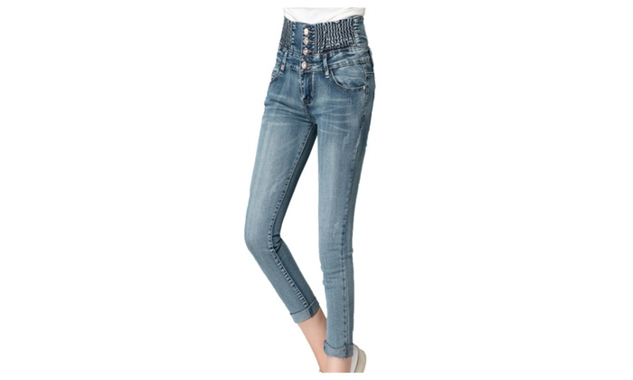 Women's Elastic High Waist Cotton Ankle Skinny Jeans