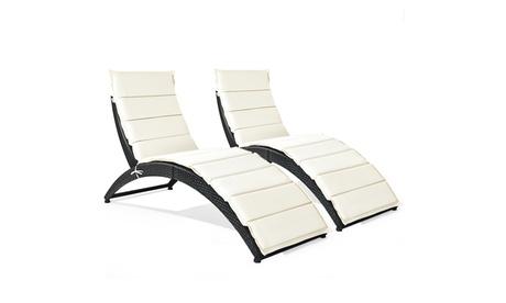 Costway 2PCS Folding Patio Rattan Lounge Chair Chaise Cushioned Portable Garden