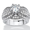 3.12 TCW Round Cubic Zirconia Ring in Platinum over Sterling Silver