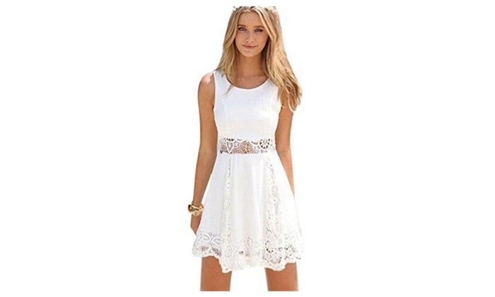 Women Sleeveless Lace Patchwork Hollow Out Short Dress