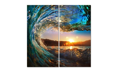 "Split Canvas Art Set 12""x 24"" 2 Pieces Wave 19d10eb3-ae57-491d-a190-bbddb2716b3c"