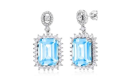 Blue Topaz Emerald Cut Drop Earrings in 18K White Gold Was: $57.59 Now: $14.95