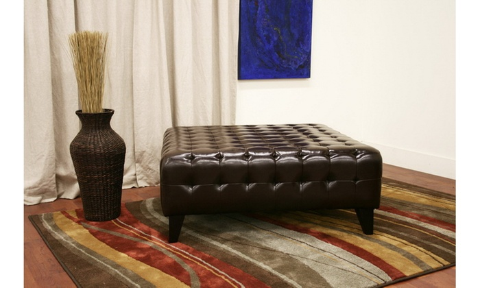 Sensational Pemberly Dark Brown Bonded Leather Square Ottoman Caraccident5 Cool Chair Designs And Ideas Caraccident5Info