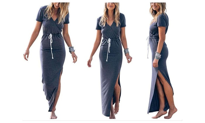 Women Sexy V Neck Casual Beach Club Maxi Dress Short Sleeve Long Dress