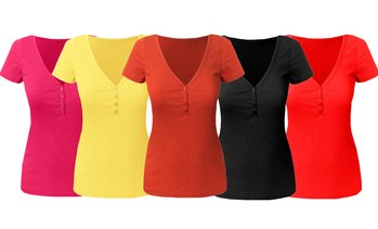 Doublju Women's V-Neck Henley Ribbed Short Sleeve Top