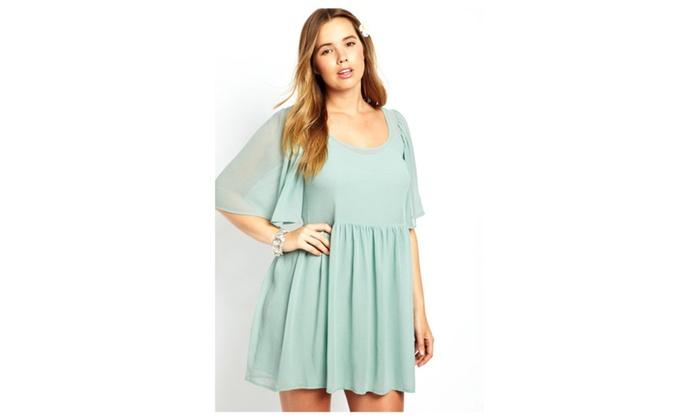 Womens Mint Angel Sleeve Mini Plus Size Smock Dress Groupon