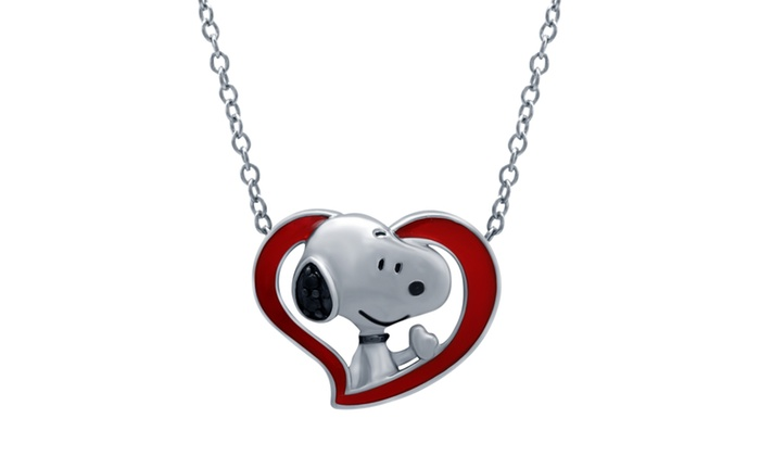 Peanuts snoopy diamond accent heart pendant in sterling silver groupon peanuts snoopy diamond accent heart pendant in sterling silver aloadofball