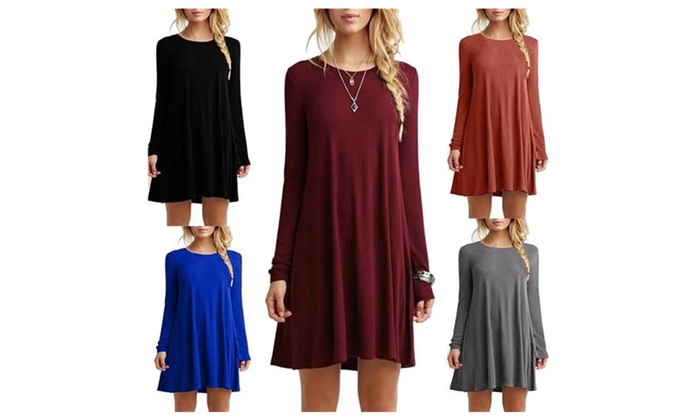 Women's Stretchy T-shirt Loose A-line Flowy Dress