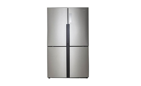 Haier 16.0 Cu. Ft. 4 Door Bottom Freezer Refrigerator Stainless Steel photo