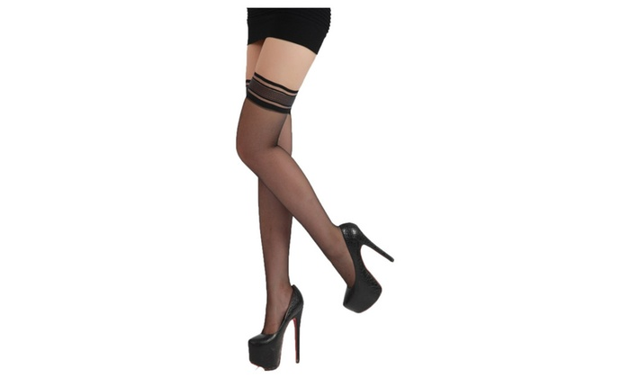 Women's Queen Silky Sheer Sexyhose Stockings One Size Black