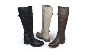 49be128afea Journee Collection Womens Wide-Calf Knee-High Faux Leather Boots