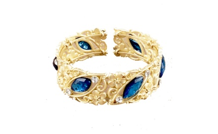 Regina Collection - Sapphire Gold Brass Filigree Cuff with Floral Motif. 1 Inch Wide