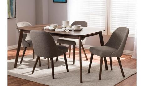 Cody Fabric Upholstered Walnut Wood 5-Piece Dining Set