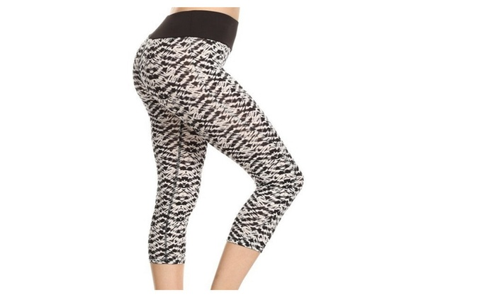 Black and White Abstract Print Activewear Capris