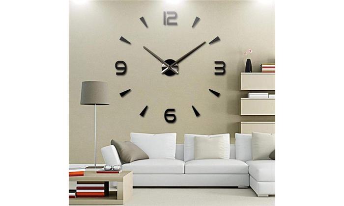 US Modern DIY Wall Clock 3D Mirror Surface Sticker Home Decor Self Adhesive Sale