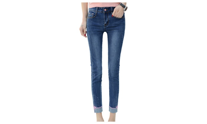 Women's Beaded Roll Cuff Denim Ankle Skinny Jeans