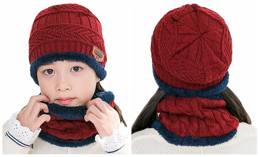JUPSK Toddler Bobble Hat Scarf 2 in 1 Beanie Pom Pom Knitted Hat with Fleece Lining Winter Neck Warmer for Baby Boys Girls Aged 1-5
