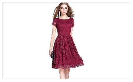 Women Hollow Round Neck Short Sleeves Lace Skate Dress - ZWWD265 c920b314-0da3-4700-a5c6-d1e38c984c4b