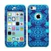 Insten Purple/blue Damask/black Tuff Hybrid Phone Case For Iphone 5c