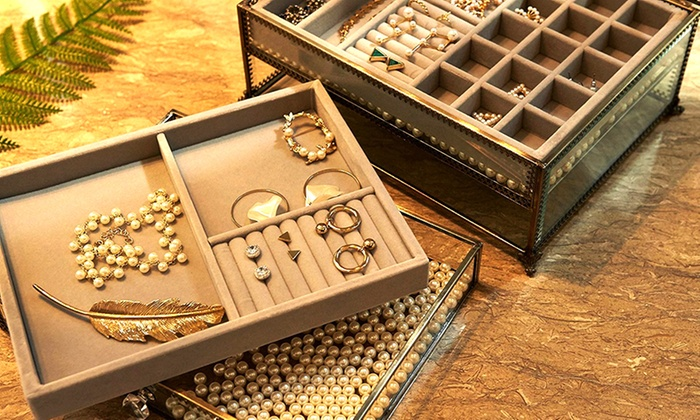 Vintage Antique Metal Laced Jewelry Organizer with Velvet Tray Groupon