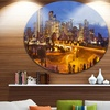 Skyline of Calgary at Night Panorama' Cityscape Metal Circle Wall Art