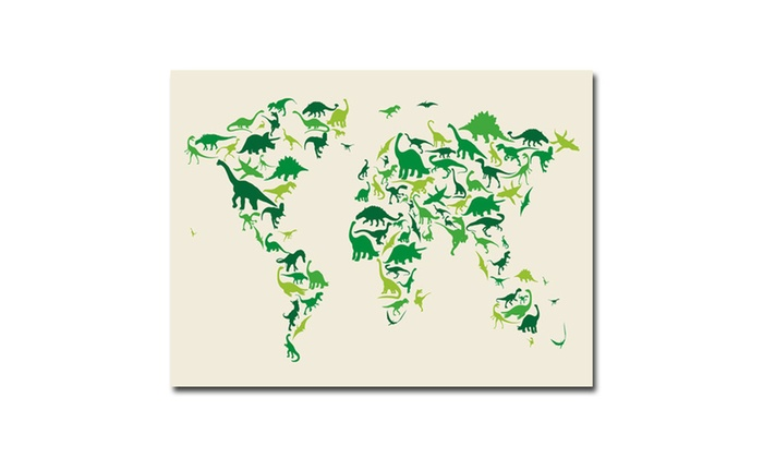 71 off on michael tompsett dinosaur wo groupon goods groupon goods michael tompsett dinosaur world map canvas art gumiabroncs Choice Image