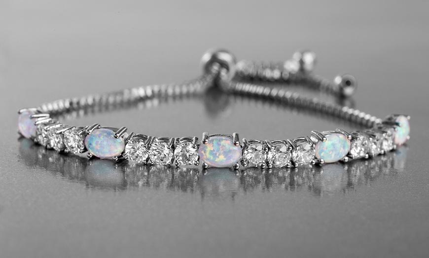 Nina Grace Fiery Opal Tennis Bracelet Made Cubic Zirconia