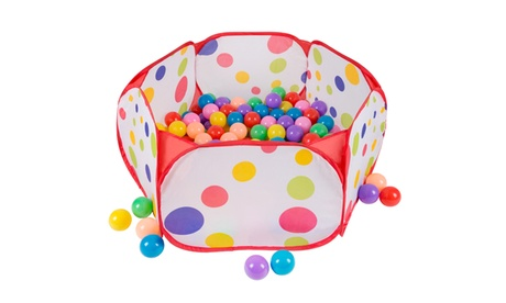 Kids Pop-up Six-sided Ball Pit Tent with 200 Colorful and Soft Crush-proof Balls ae8ac599-d51d-4f59-b6a7-7e6d1ab772c2