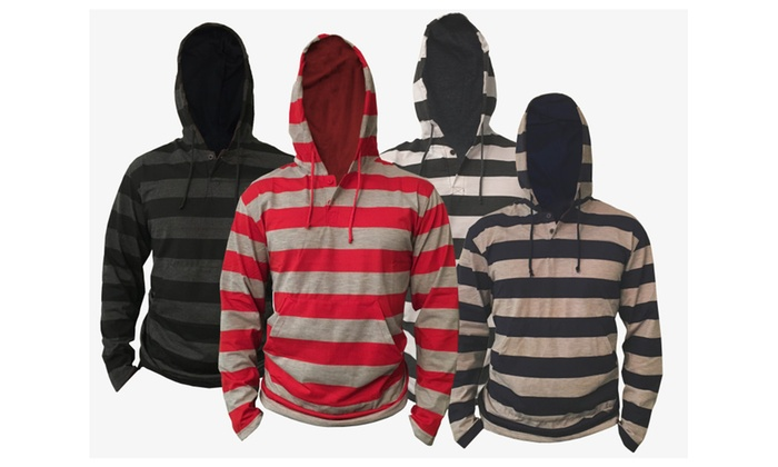 Men's Lightweight Striped Pullover Hoodie with Kangaroo Pockets