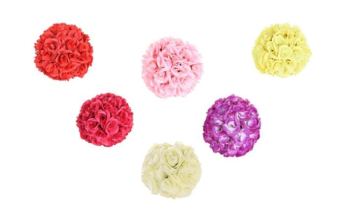 10 flower artificial kissing ball wedding silk rose pomander groupon luxur 10 flower artificial kissing ball wedding silk rose pomander mightylinksfo