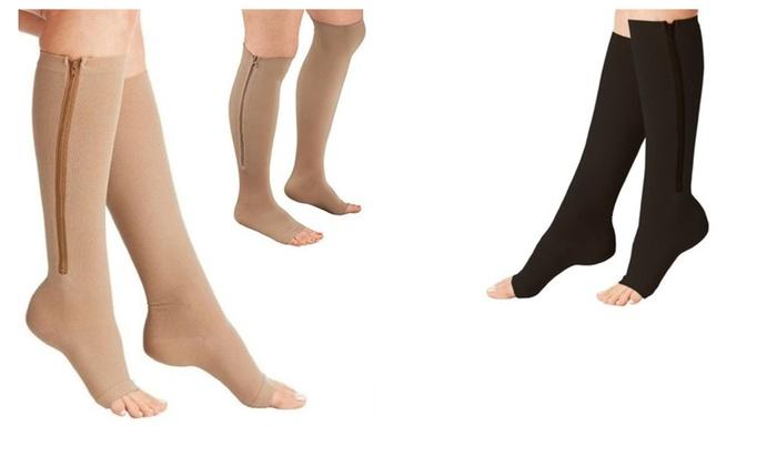 2ora: Blood Flow Circulation Toeless Zipper Compression Socks