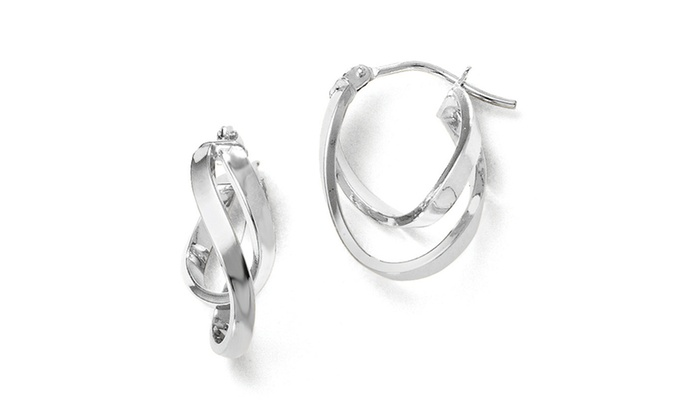 a55931dbff5 Italian 14k White Gold Rhodium Plated Polished Hinged Hoop Earrings ...