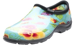 Principle Plastics  Size 7 Women Teal Print Rain & Garden Shoe