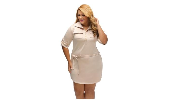 Womens Khaki Plus Size Belted Textured Shirt Dress Groupon