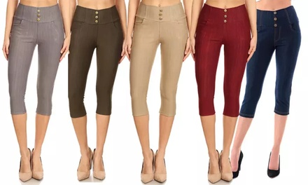 Women's Stretchy Pull-On Knit Denim Capris Jegging Pant Also In Plus Size Was: $59.99 Now: $7.99.