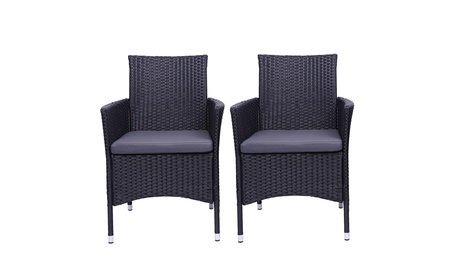 2PC Patio Rattan Wicker Dining Chairs Set Black With 2 Set Cushion