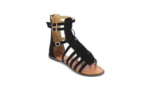 Beston GB76 Women's Fringe Deco Ankle Cuff Flat Sandal Shoes f6851ea0-a5dc-408b-ba92-a91c1eab7cbb