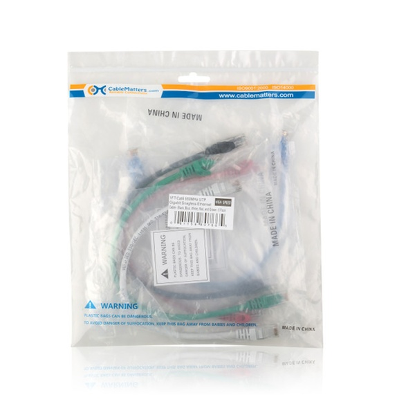 Cable Matters 5-Color Combo Cat6 Snagless Ethernet Patch Cable 1 Foot