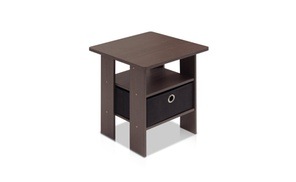 Furinno End Table Bedroom Night Stand with Bin Drawer