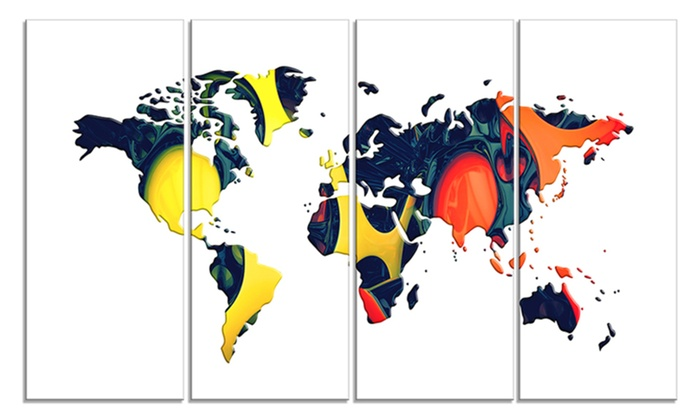 Orange and yellow geo world map canvas art print groupon orange and yellow geo world map canvas art print gumiabroncs Images
