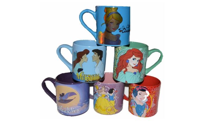 2 Mugs Licensed Cups Coffee Disney Tea Ceramic Princess SidedGroupon yIb7gv6Yf