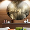 Night Alley with Lights' Disc Photography Landscape Circle Metal Wall Art