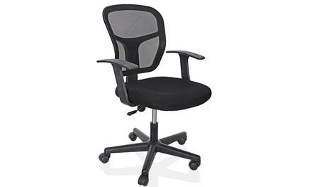 Ergonomic Executive Mesh Chair Swivel Mid-Back Office Chair Computer Desk Black