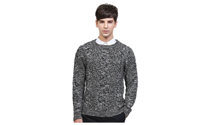 Men's Crew Neck Slim Fit Knit Ripped Long Sleeve Pullover Sweater
