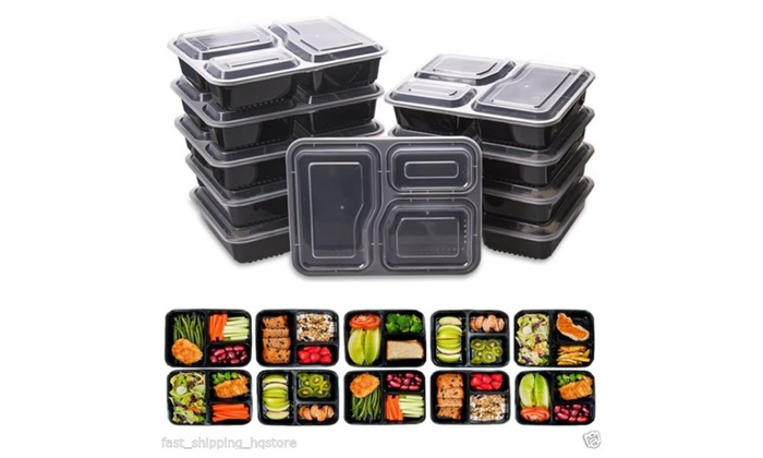 angelbos: 10 Meal Prep Containers Plastic Food Storage Reusable Microwavable 3