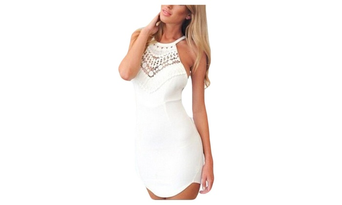 Sexy Sleeveless Lace Stitching Cross Back Bodycon Dress