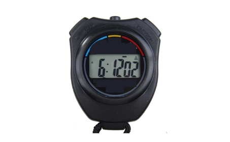 Electronic LCD Timer Digital Sport Stopwatch Date Time Alarm Counter photo