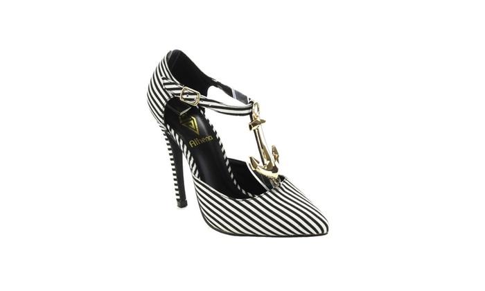 Athena NAVIA Women's Pointy Toe Fabric Stripe T-strap Stiletto Pumps